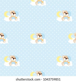 Baby bear sleep Seamless Pattern. cartoon background. Good for wallpaper, design for fabric and decor.