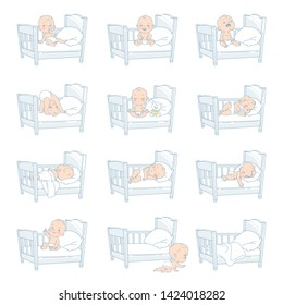 Baby in bed. Set of vector illustration with baby in bed in different situation. Sleep, non sleep, cry, laugh, play, sit. Baby sleep problems. Day and night. Baby regime. Pastel color vector.