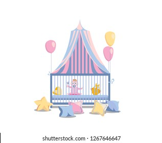 Baby in a bed under a tabby canopy. Little girl in the playpen, decorated with pink balloons and colorful pillows. It's a girl Vector flat cartoon illustration isolated in white background