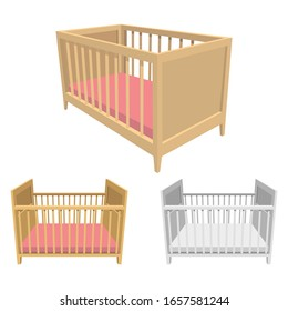 Baby bed vector design illustration isolated on white background