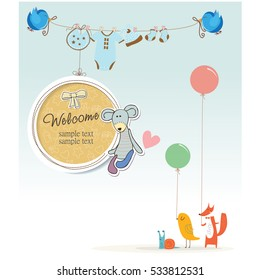 Baby birtday, baby shower, party invitation card, vector