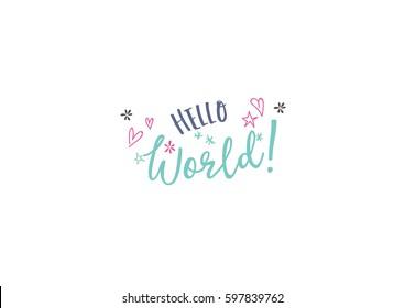 "Baby Birth Card Lettering Design ""Hello World"""