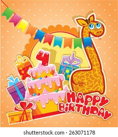 Baby birthday card with giraffe, big cake and gift boxes. Four years anniversary