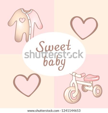 Baby Birthday Card Shower Card Invitation Stock Vector Royalty Free