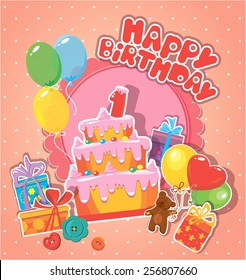 Baby birthday card with teddy bear, big cake and gift boxes. One year anniversary