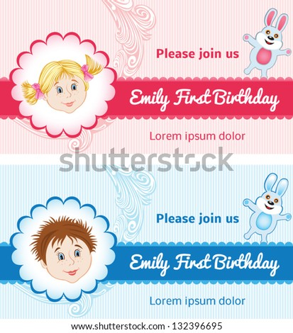 Baby Birthday Cards For Girl And Boy