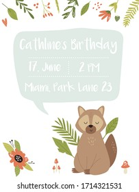 Baby Birthday invitation card with funny cute raccoon. Childish greeting banner, poster with animal character