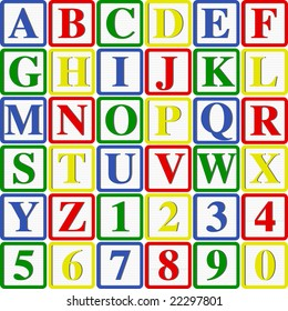 Baby Blocks Letters and Numbers: Vector Illustration with easy to change colors and letters