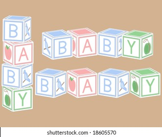 Baby blocks in pastel colors.