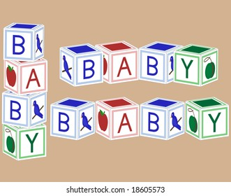 Baby blocks in primary colors.