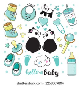 Baby blue elements collection with pandas on a white background