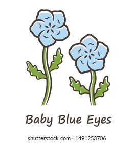 Baby blue eyes color icon. Linen blooming flower with name inscription. Nemophila menziesii garden plant. Blue flax inflorescence. Wildflower blossom. Isolated vector illustration