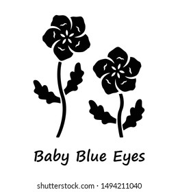 Baby blue eyes glyph icon. Linen blooming flower with name inscription. Nemophila menziesii garden plant. Blue flax. Wildflower blossom. Silhouette symbol. Negative space. Vector isolated illustration