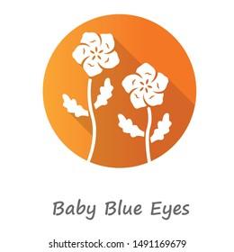 Baby blue eyes orange flat design long shadow glyph icon. Linen blooming flower with name inscription. Nemophila menziesii garden plant. Blue flax. Wildflower blossom. Vector silhouette illustration