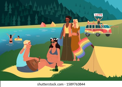 Baby boom generation representation. Social group concept, generation type. Boomer, hippie culture, 70s. Vector illustration in cartoon style
