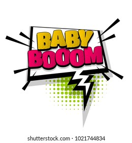 baby boom hand drawn comic text design effects. Template comics speech bubble halftone dot background. Pop art style. Comic dialog cloud, text pop-art. Creative idea conversation sketch explosion.
