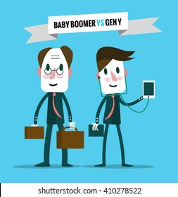 baby boomers  VS generation y. Business human resource. flat character design. vector illustration