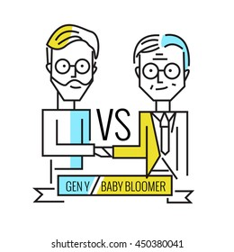 baby boomers VS generation y. Business human resource and teamwork.  flat line character design. vector illustration