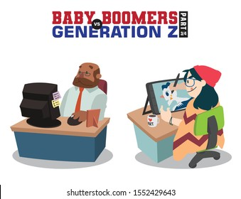 Baby Boomers vs Generation Z. Generation X Millenials. Elderly People with Young Generations Vector part 3