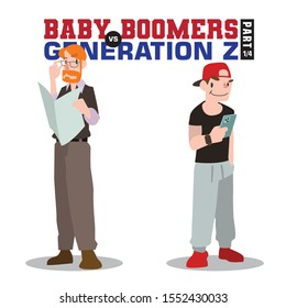 Baby Boomers vs Generation Z. Generation X Millenials. Elderly People with Young Generations Vector part 1