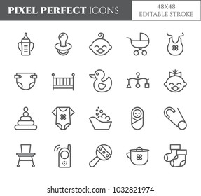 Baby born pixel perfect icons set with different child and motherhood symbols and accessories elements. Isolated 48x48 pixels pictograms vector illustration with editable stroke.