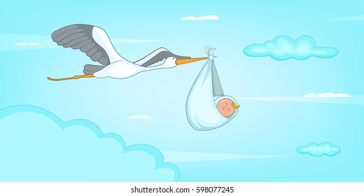 Baby born stork horizontal banner concept. Cartoon illustration of baby born stork vector horizontal banner for web