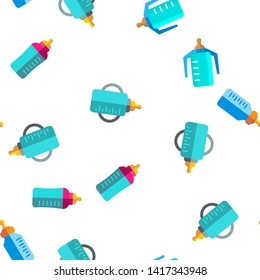 Baby Bottle, Childcare Equipment Vector Linear Icons Seamless Pattern. Baby Bottles with Latex, Silicone Nipples for Feeding Infants. Sippy Cups Thin Line Pictograms. Plastic Containers for Liquid