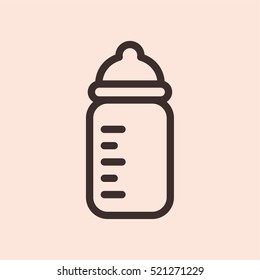 Baby Bottle Minimalistic Flat Line Circle Solid Stroke Icon Pictogram Symbol