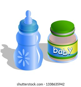 Baby bottle and baby organic natural food puree in jar icon isolated on white background. Vector illustration