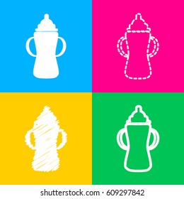 Baby bottle sign. Four styles of icon on four color squares.