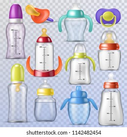 Baby bottle vector kids plastic container with milk or bottled liquid for drinking and child nipple or infant dummy illustration childish set of sterile pacifier isolated on transparent background