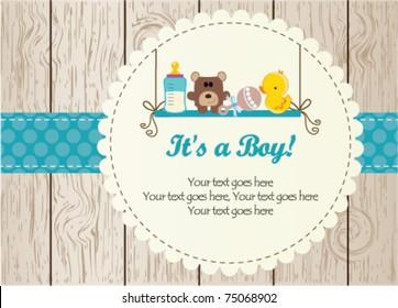Baby boy arrival announcement card