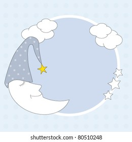 Baby boy arrival announcement. Framework with a moon