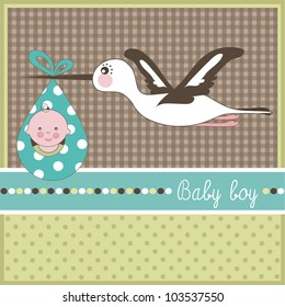 Baby boy arrival card, vector