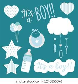 Baby boy arrival illustrations, it´s a boy designs for baby shower, newborn celebration