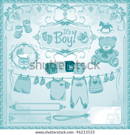 baby boy arrival set birth announcement stock vector royalty free
