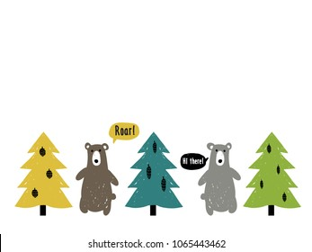 Baby boy bear and nature graphic objects isolated on white background. Kids bear and fir-tree nursery forest. Card with border. Doodle scandinavian simple illustration set.