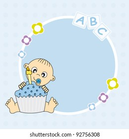 baby boy with a birthday cake. Frame for photo or text