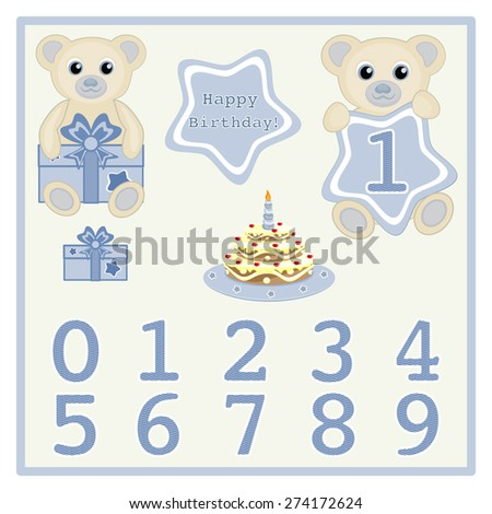 Baby Boy Birthday Card Gift Cake And Candle Vector Cute Bears