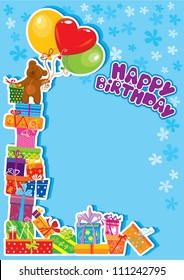 baby boy birthday card with teddy bear and gift boxes