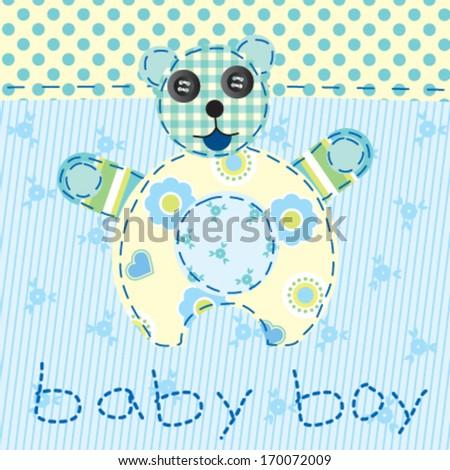 Baby Boy Blue Patchwork Teddy Bear Stock Vector (Royalty