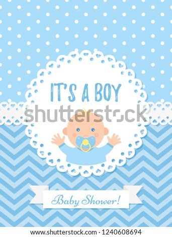 Baby Boy Card Vector Baby Shower Stock Vector Royalty Free