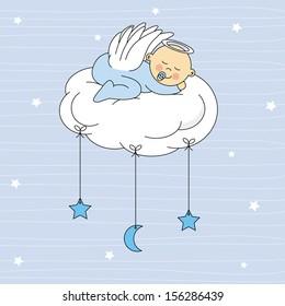 baby boy dressed  angel sleeping on a cloud. Birth Card