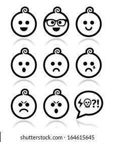Baby boy faces, avatar vector icons set