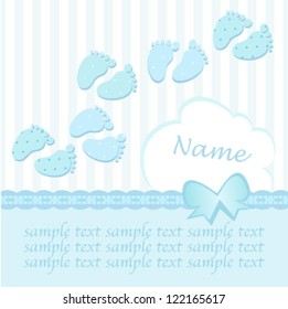 baby boy footstep card with a bow