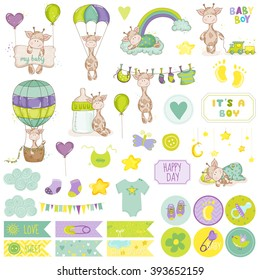Baby Boy Giraffe Scrapbook Set. Vector Scrapbooking. Decorative Elements. Tags. Labels. Stickers. Notes.