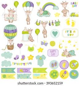 Baby Boy Giraffe Scrapbook Set. Vector Scrapbooking. Decorative Elements. Tags. Labels. Stickers. Notes.