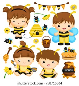 Baby boy and girl with bee costume