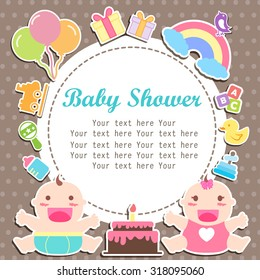 baby boy and girl care with place for your text, invitation cartoon care with type font ribbon frame
