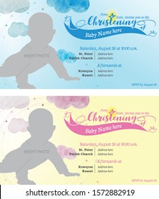 Baby boy and girl christening invitation. Baptism invitation card for both gender. Blue or Pink invitation. Welcome to the christian world. Blessings. Elegant invitation card with simple design.